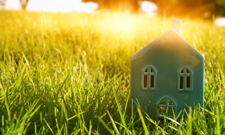 64554256 - image of vintage house in the grass, garden or park at sunset light