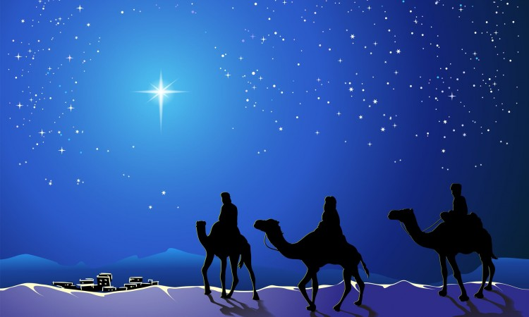 24184412 - christmas story. three wise men go for the star of bethlehem