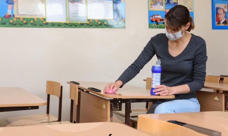 limpieza, colegio, desinfección